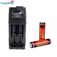 2PCS TrustFire 3400mAh 3.7V 18650 High Capacity Li ion Lithium Rechargeable Battery Protected PCB With TrustFire Tr 001 Charger