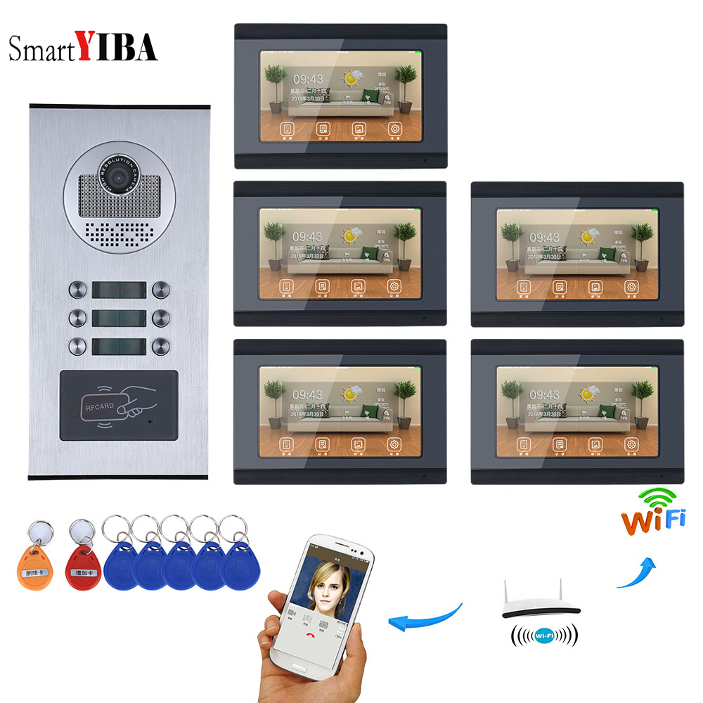 SmartYIBA APP Control Video Intercom 7 Inch Wifi Wireless Video Door Phone Doorbell Camera Video Recording For 5 Units Apartment yobangsecurity 6 units apartment video intercom 7 inch lcd wifi wireless video door phone doorbell video recording app control