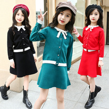 Toddler Girls Clothing Set Autumn Winter Knitted Cardigan Sweater Skirt Suits Kids School Clothes for Girls 5 6 8 11 12 14 Years 2018 knitted girls sweater autumn sweaters for girls v neck girls top winter teen kids girls clothing christmas gift cardigan 12
