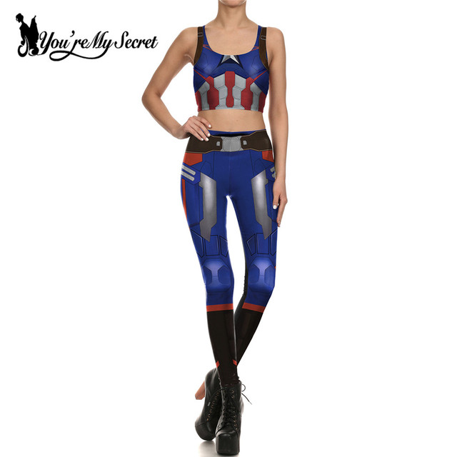 Cosplay Costume For Women Wonder Captain America Deadpool Woman Croped Tops Leggings Sets Many Styles