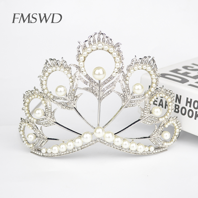 Luxury Pearl Rhinestone Miss World Crown Wedding Princess Prom Tiara Bride  Hair Jewelry Accessories Quin Pageant af93ada2ea77