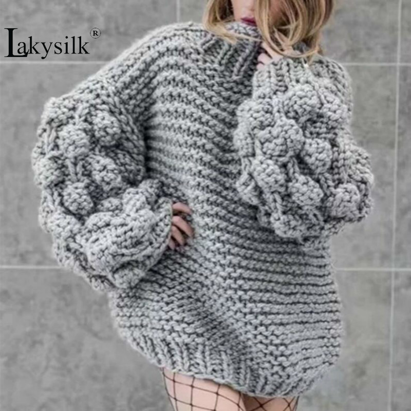 New 2019 Hand Made Women Sweaters Fashion Lantern Sleeve Knitted Solid Pullovers Ladies Winter Loose Casual Grey Maxi Blouses
