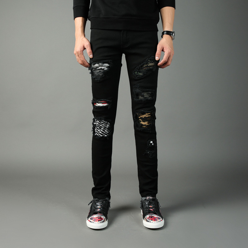 где купить Free Shipping Balplein Brand Jeans Men Black Color Denim Pants Slim Fit Punk Style Patchwork Ripped Jeans High Street Men Jeans по лучшей цене