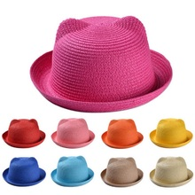 Cap Child Straw-Hats Panama Character Girls Baby Summer Ear-Decorations Boys Floppy Candy-Color