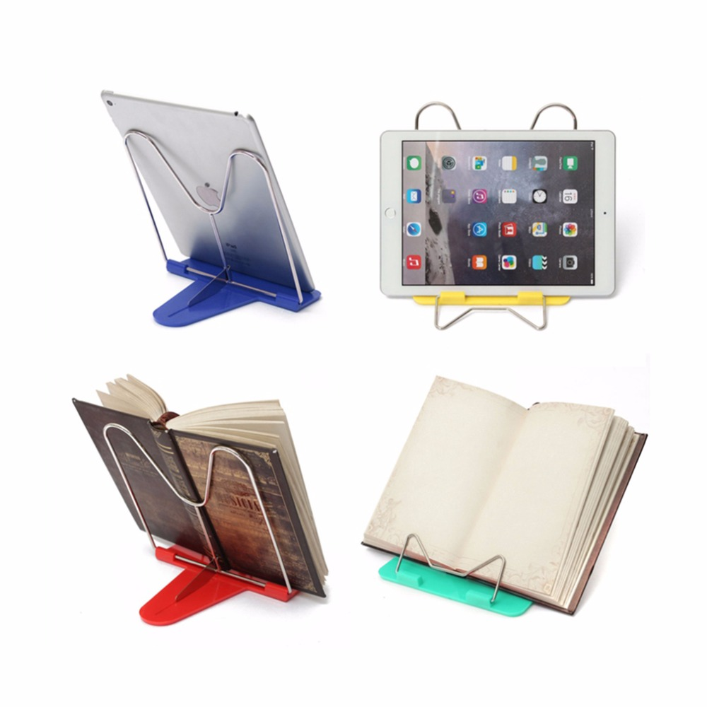 Adjustable Foldable Portable Reading Book Stand Document Holder Desk Office Supply Stainless Steel Rack Plastic Base Reading