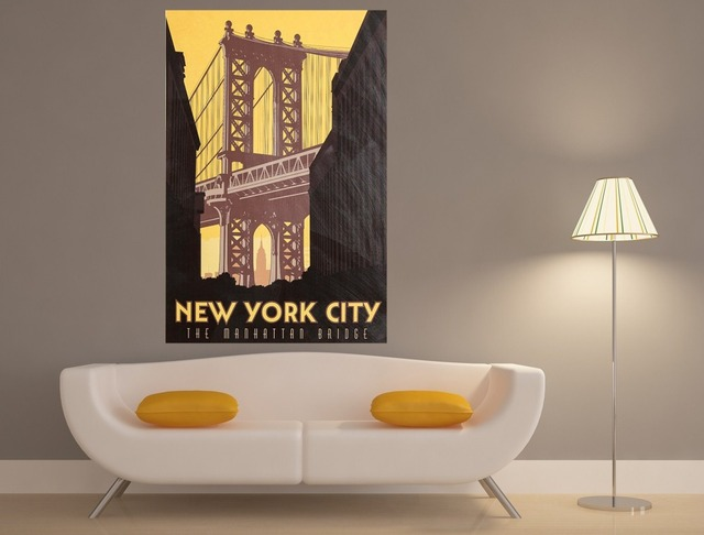 New York City Vintage Silk Fabric Canvas Posters And Prints 12x16 ...