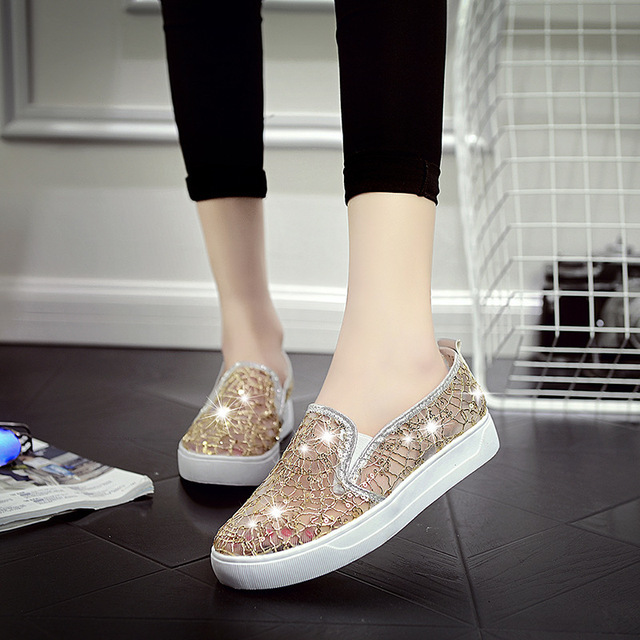 Woman Fashion Slip On Flats 2017 Spring Summer Women Shoes Rhinestone Mesh Lace Breathable Loafers Z645 Girl's tenis feminino