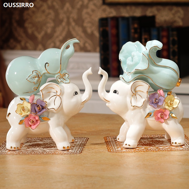OUSSIRRO Elephants Decorations Creativity Ceramics Baby Elephants Living Room TV Stands Wine Cabinets Decorations Housewarming