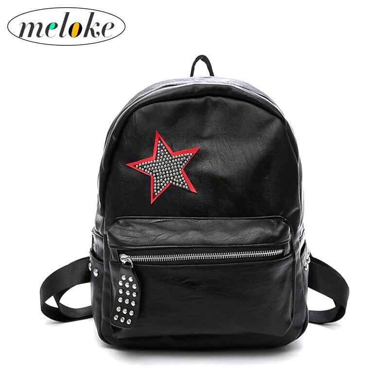 bc6ba5a79034 Click here to Buy Now!! Meloke 2018 женские черные губы и star leather  рюкзак случайные заклепки дорожные сумки для девочек повседневные школьные  ...