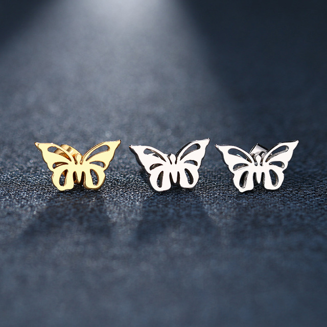 DOTIFI Stainless Steel Stud Earring For Women ManHollow Butterfly Gold And Silver Color Lover s Engagement.jpg 640x640 - DOTIFI Stainless Steel Stud Earring For Women ManHollow Butterfly Gold And Silver Color Lover's Engagement Jewelry Drop Shipping