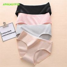 Comfortable Womens Cotton panties 92% Pure Seamless Panties Mid-Rise briefs Solid Simple Lingerie Large Female Underwear