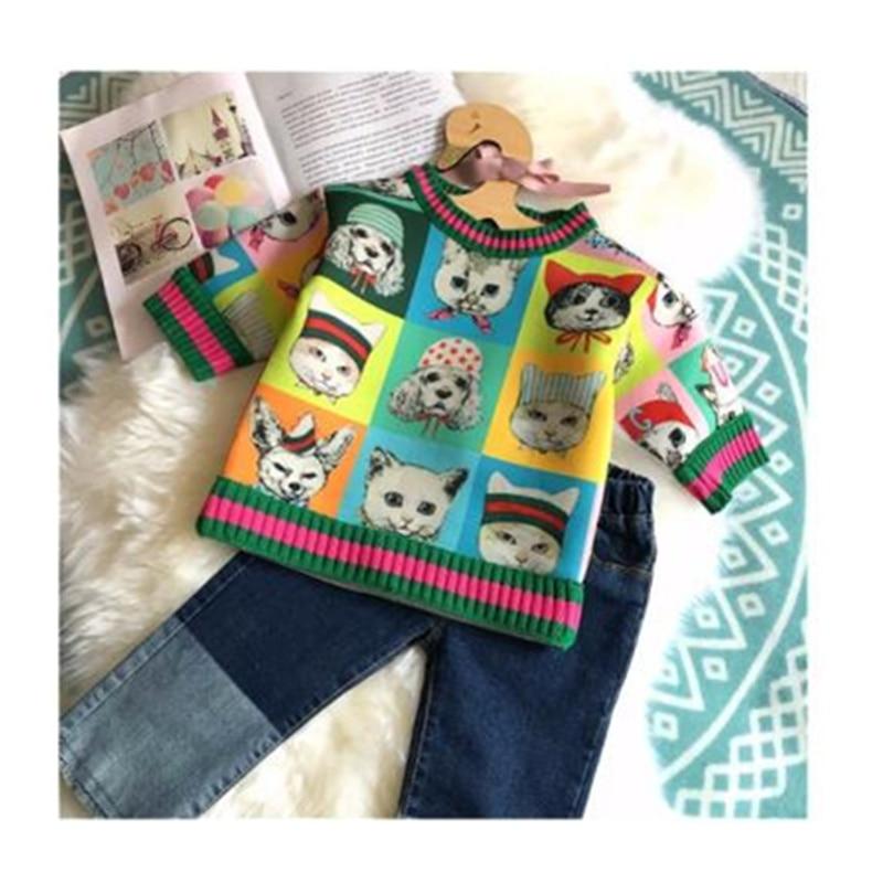 kids sweatshirt cat pattern long sleeve spring autumn boys girls tops