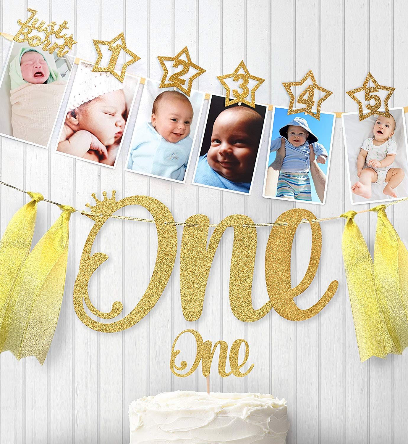 Baby 1st Birthday Boy Girl Star Gold 12 Month Photo Banner I AM ONE Photo Booth Banner My First Birthday Party Decorations Kids-in Banners, Streamers & Confetti from Home & Garden