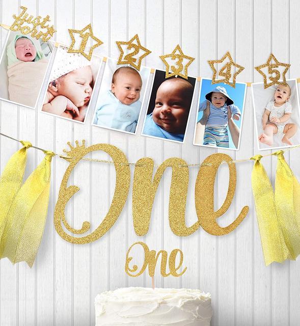 Baby 1st cumpleaños de niña y niño Star Gold 12 mes Photo Banner I AM ONE Photo stand Banner My First decoraciones para fiesta de cumpleaños niños