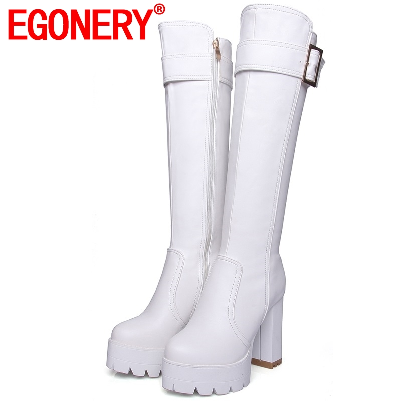 EGONERY fashion 11.5cm Super High Spring winter long knee high riding boots party sexy woman black PU Plush Wedding shoes White-in Knee-High Boots from Shoes    1