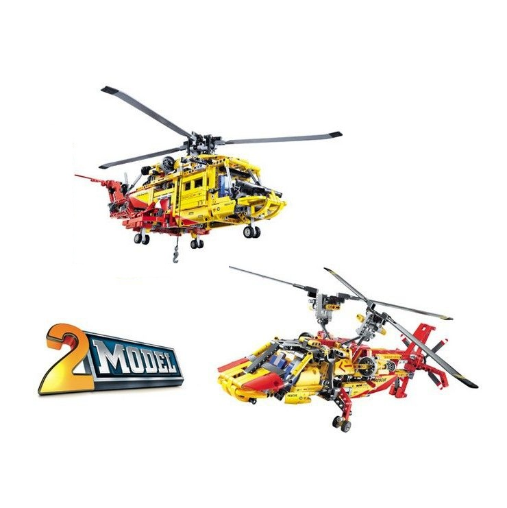 3357 1056Pcs Technic City Series 2 in 1 Helicopter Model Building Blocks Enlighten DIY Figure Toys For Children Compatible decool 3355 technic city series rescue helicopter building block 407pcs diy educational toys for children compatible legoe