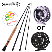 Sougayilang 2.7M Fly fishing Rod for 4 Sections Fly Rod Combo Set 5/6 Super Light Carbon Fishing Pole Bamboo Fish Tackle Pesca