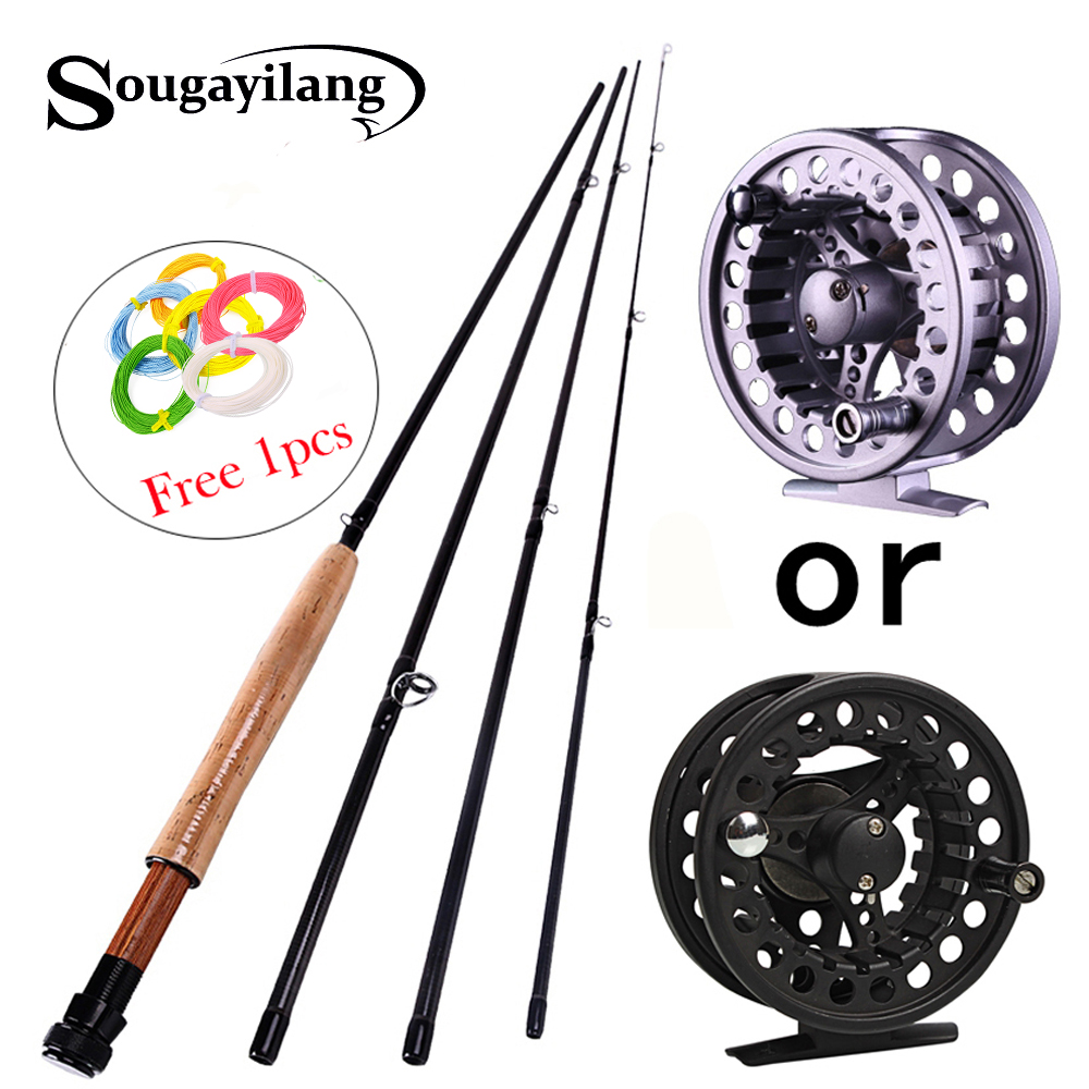 Sougayilang 2.7M Fly fishing Rod for 4 Sections Fly Rod Combo Set 5/6 Super Light Carbon Fishing Pole Bamboo Fish Tackle PescaSougayilang 2.7M Fly fishing Rod for 4 Sections Fly Rod Combo Set 5/6 Super Light Carbon Fishing Pole Bamboo Fish Tackle Pesca