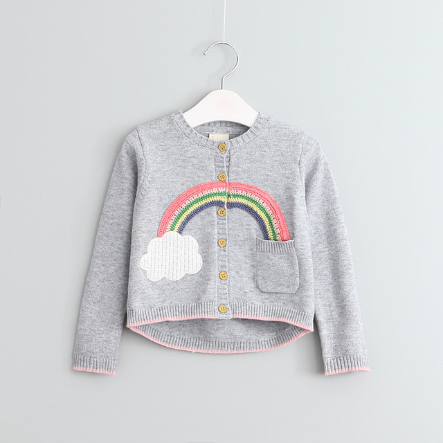 69bdf3e8f61d New Baby Girls Rainbow Knitted Cardigan Sweaters Sweet Baby ...