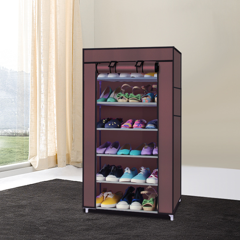 7 layers 6 grids Large Capacity DIY Shoes Rack Storage Non-woven Shoe Cabinet With Curtain For Living Room Or Doorway Organize