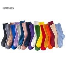 Harajuku 1 pair long women rainbow socks school style cotton solid color fashion fresh for Korean woman