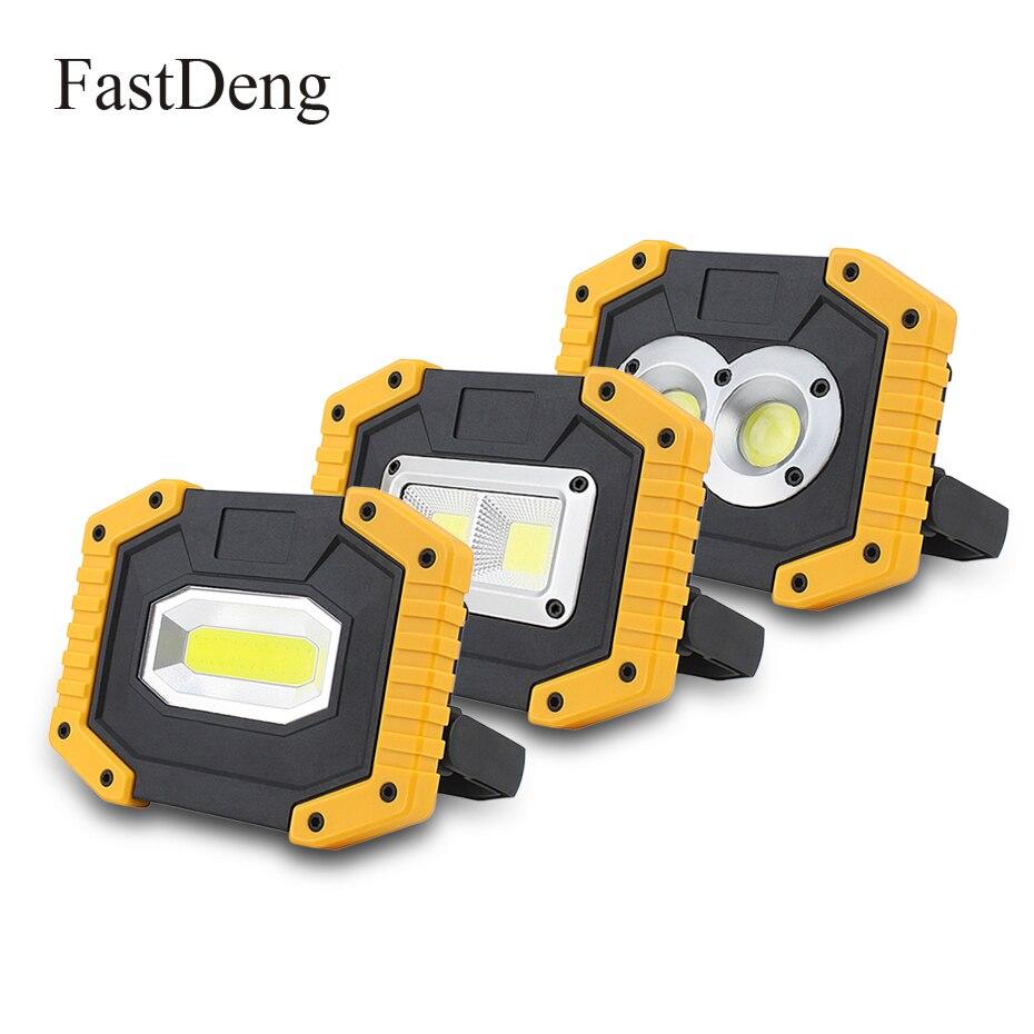 20 W COB lámpara de trabajo LED linterna portátil impermeable 3-modo de emergencia foco portátil recargable reflector para luz de Camping