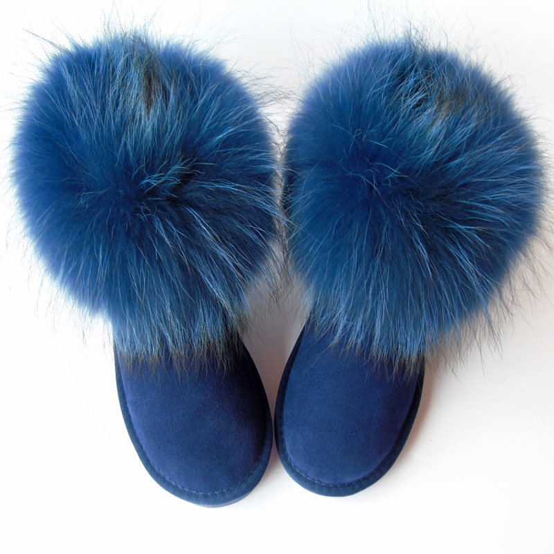 G&Zaco Luxury Natural Dark Blue Fox Fur Snow Boots Cow Suede Genuine Leather Women Boots Flat Real Fur Boots Winter Women Shoes real fox fur cow suede leather long winter snow boots for women over the knee boots flats party shoes lady motorcycle boots