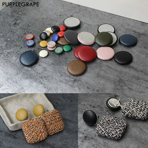 15mm 20mm Faux leather round cloth buckle DIY button jewelry material homemade bean earrings accessories a pack of 10(China)