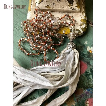 Romantic Shabby Boho Glam Sari Silk Tassel Necklace Jewelry Unique Accessory Holiday Gift Idea Fun Necklace NM15559