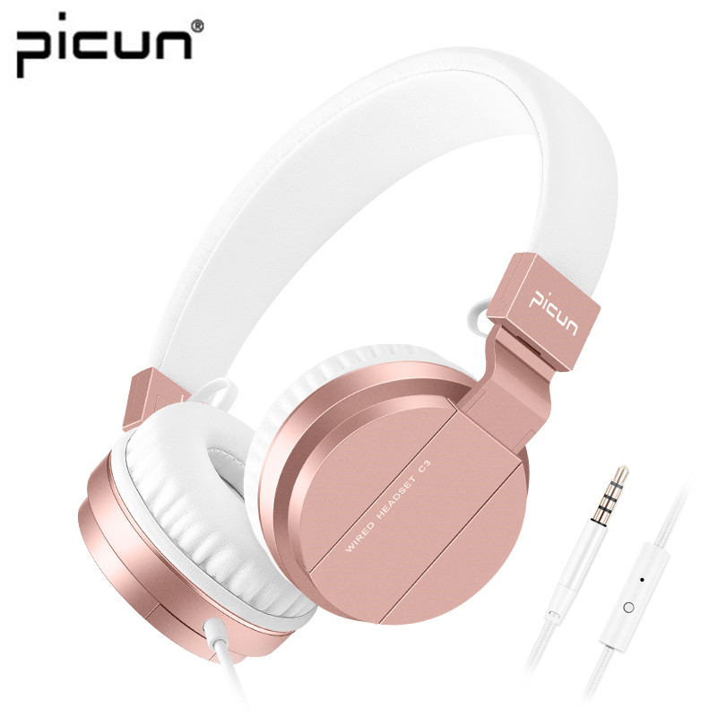 Picun C3 Rose Gold Headphones With Microphone For Girls PS4 Gaming Headsets For Apple Iphone SE Galaxy S8 S7 A5 Sony LeEco Asus 2017 new men canvas chest bag pack casual crossbody sling messenger bags vintage male travel shoulder bag bolsas tranvel borse
