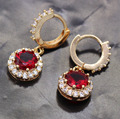 Delicacy Lovely Design 18kt Gold Plated Red Crystal Hoop Earrings for Women Wholesale