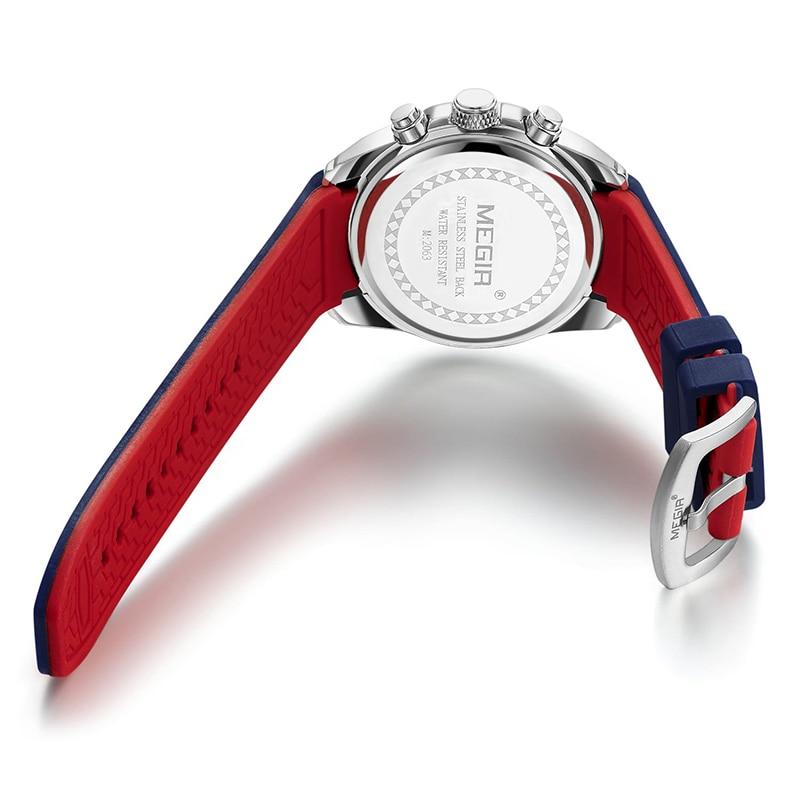 Reloj cronógrafo analógico MEGIR de cuarzo para hombre reloj de pulsera de lujo de marca de silicona militar para hombre reloj de pulsera para hombre - 2