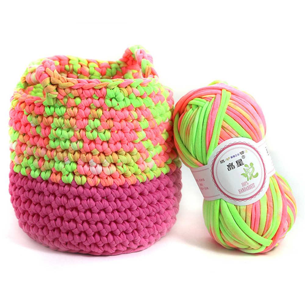 1 рулон 100 г многоцветный крючком ткань Ковры Пряжа мягкий хлопок шерсть вязание пункт ручная вязаная корзина швейные ткани