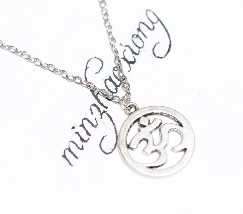 Silver Aum Ohm Om Necklace Chain Hindu Symbol Pendant Charm Meditation Jewelry