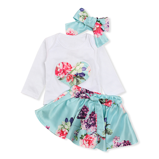 0f9aefce939 Rorychen Baby Girls Clothing Newborn Baby Girls 3Pcs Clothes Love Heart Romper  Jumpsuits+Floral Skirts