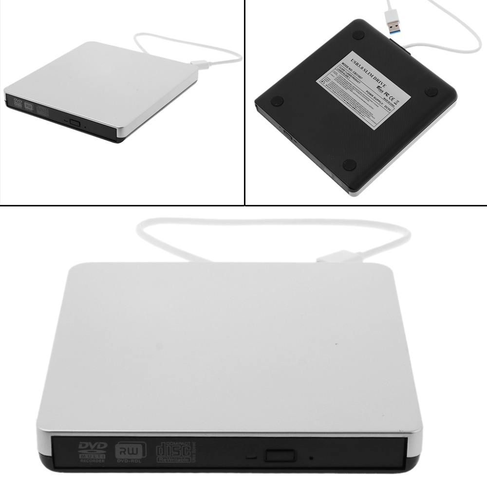Ultra-slim External USB 3.0 CD DVD-RW Drive Rom Burner Writer 14.8x14.2x1.6cm CD-R 24X f ...