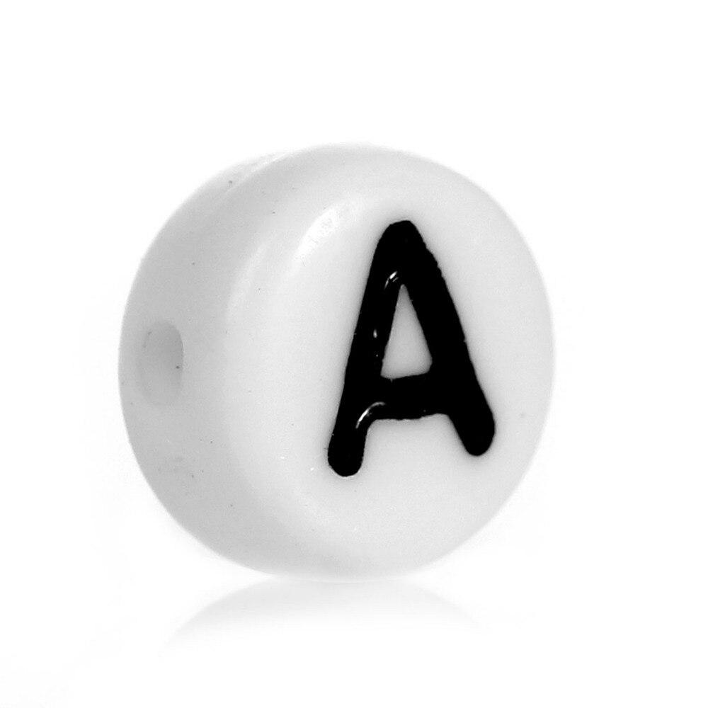 DoreenBeads акриловые разделительные бусины плоские круглые белые буквы узор Модные женские бусины для DIY мм около 7,0 мм диаметр, отверстие мм: 1,0 мм 60 шт.