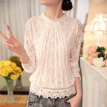 New 2017 Women's Long Sleeve Chiffon Lace Crochet Tops Blouses Summer Female White Blusas  Women Clothing Feminine Blouse