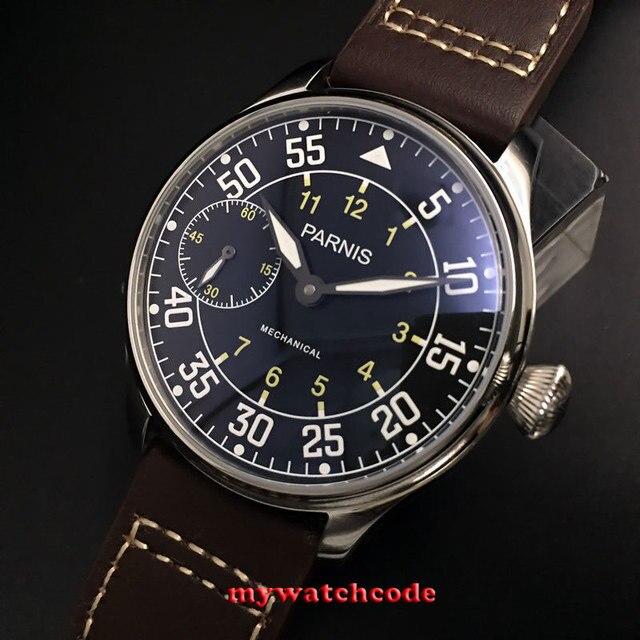 e49bfcfe57d 44mm parnis mostrador preto ST 3600 mão enrolamento 6497 mecânica mens watch  P647