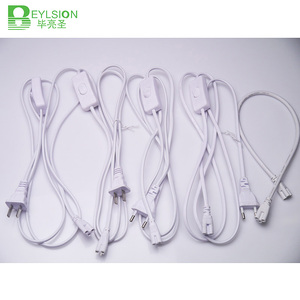 BEYLSION 3 PIN 2 PIN T5 T8 złącze przewodu elektrycznego z włącznikiem/wyłącznikiem 1.8M kabel przedłużający zasilanie ue wtyczka amerykańska do świetlówka led