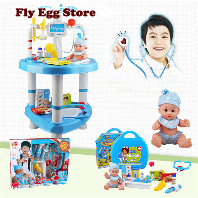 Doctor toys Large Doctor pretend house play doll care desk set with reborn bath doll blue plastic doctor toys for girl boy kids