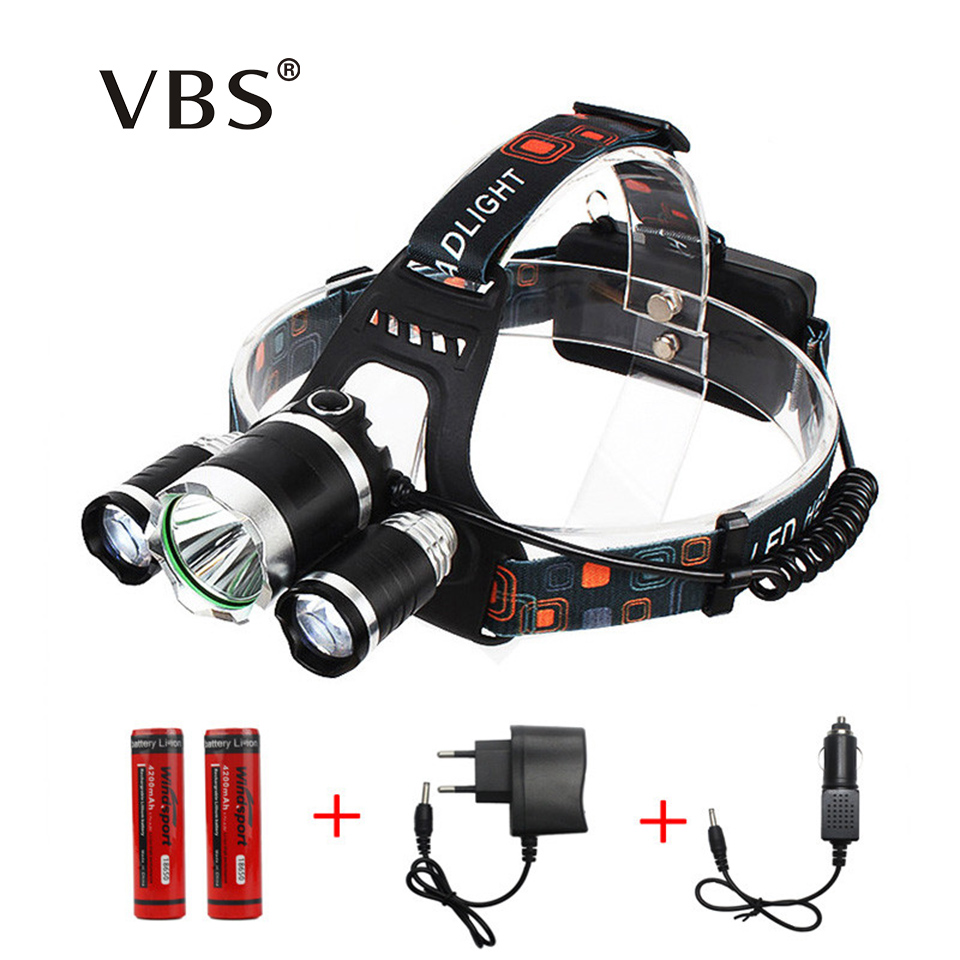 Portable 3 LED Headlamps T6 + 2*R2 Head lamp Light  4 Modes for Bicycle Riding High Power LED Headlamp by Charger, 18650 Battery mc e mce led bicycle headlamp 1200lm 3 modes rechargeable bicycle light headlamp