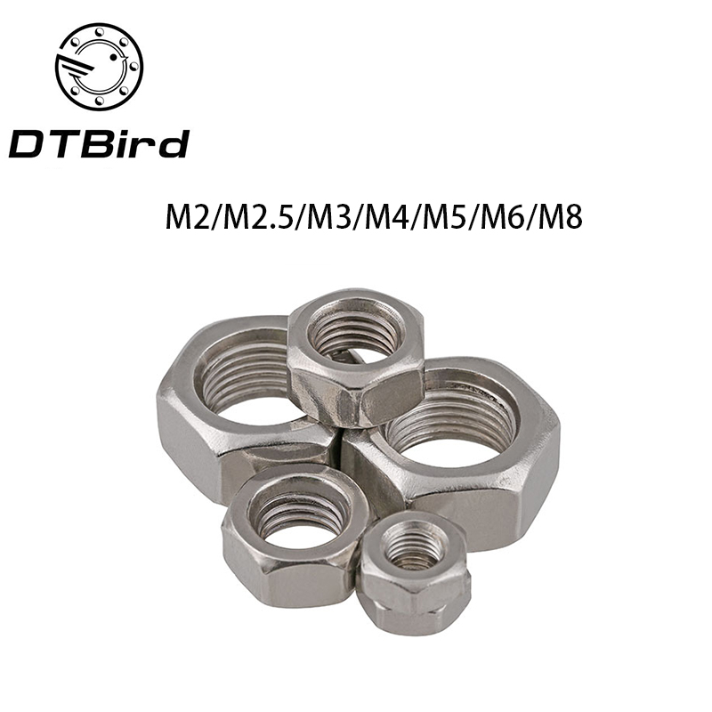 Free shipping 50Pcs DIN934 M2 M2.5 M3 M4 M5 M6 M8 304 Stainless Steel Metric Thread Hex Nut Hexagon Nuts HW009 4pcs set hand tap hex shank hss screw spiral point thread metric plug drill bits m3 m4 m5 m6 hand tools
