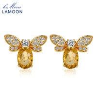 Lamoon 925 стерлингового серебра--Jewelry Серьги пчела 5x7 мм 1ct 100% натуральный цитрин Серьги-гвоздики для Для женщин ювелирные украшения S925 ei041