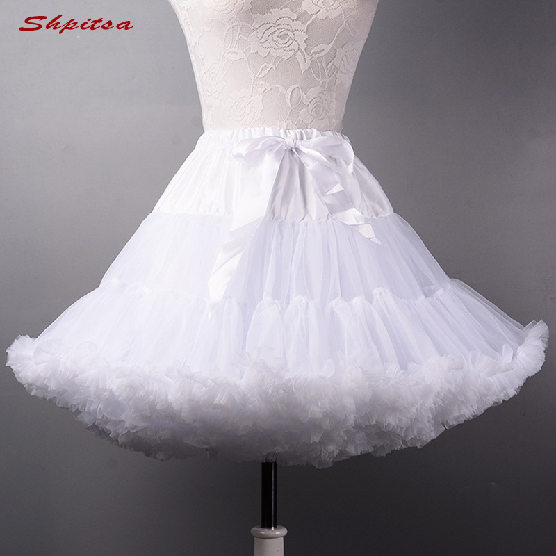 Image 2 - Black or White Short Petticoats for Wedding Girl Tulle Skirt Rockabilly Lolita Woman Girl Underskirt Crinoline PettycoatPetticoats   -
