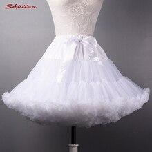 Jupons courts noir ou blanc pour mariage Lolita, sous jupe moelleuse en Crinoline pour femmes et filles
