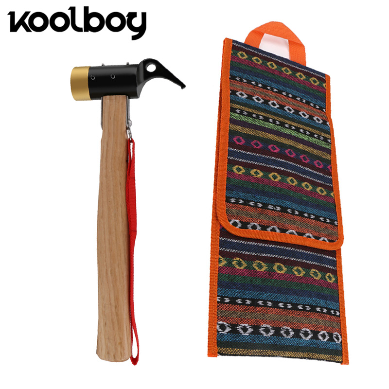 цена на Multifunctional Outdoor Claw Hammer + Nylon storage bag hardness brass Wooden Handle Roofing Nail Hammer Wood repair Tools gift
