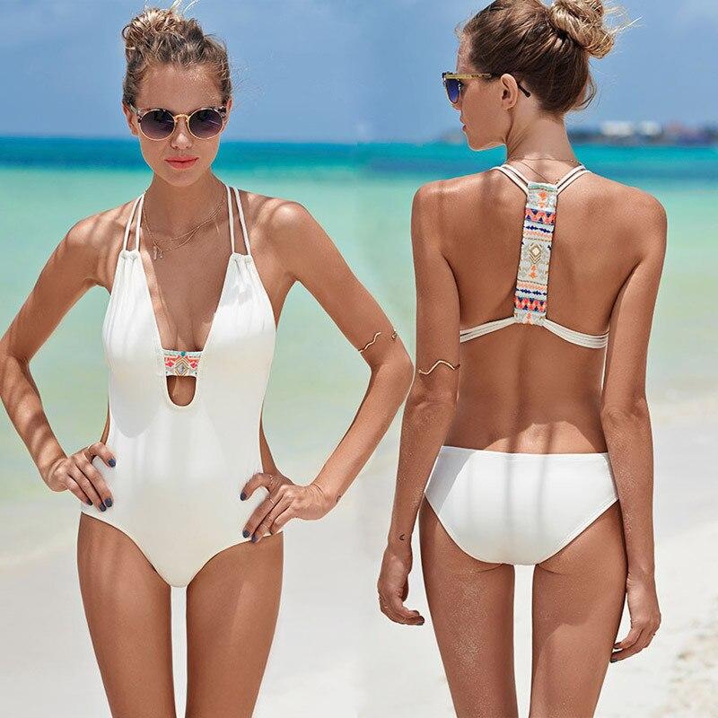e4cccfd529 Black White cross back bodysuit Monokini Sexy one piece swimsuit Backless Swimwear  Women Bathing suit Beachwear