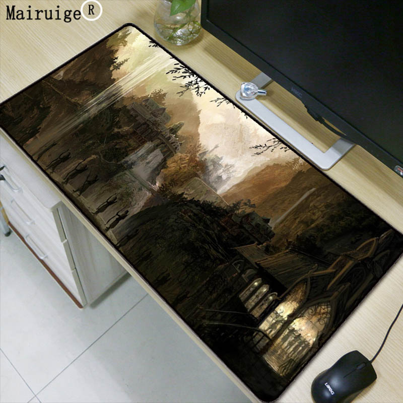 лучшая цена Mairuige Lord of The Rings Large Gaming Locking Edge Mouse Pad Keyboard Pad Desk Mat Table Mat for Computer Laptop Lol Gamer