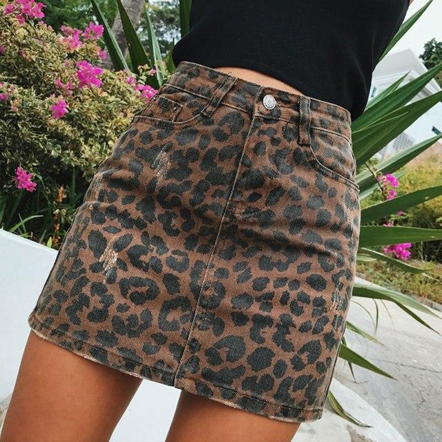 ef3f1beb5e Sexy Leopard print denim skirt women Summer bodycon high waist pencil skirt  Streetwear 2017 fashion casual
